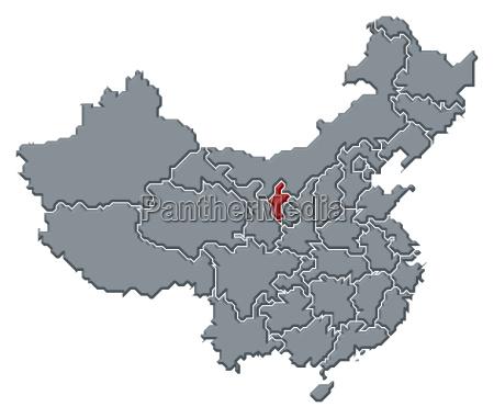 mappa della cinaningxia evidenziato