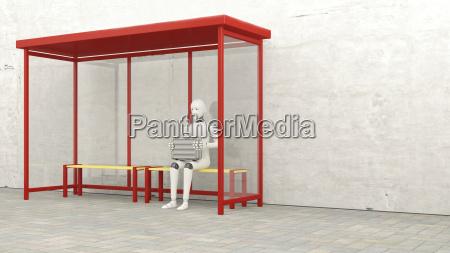 robot con valigetta seduto alla fermata3d