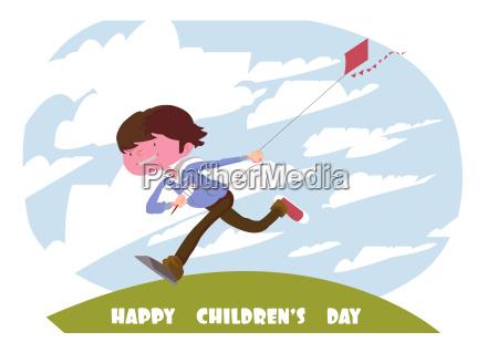 vettore digitale felice bambini scheda di